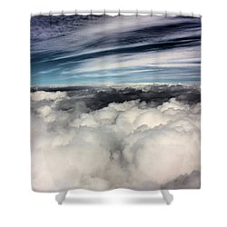 Between Heaven And A Soft Place Shower Curtain by Kristin Elmquist