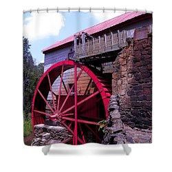 Big Red Wheel Shower Curtain by Sandi OReilly