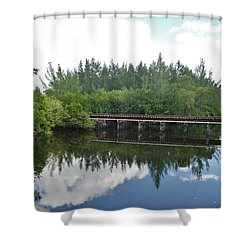 Big Sky And Docks On The River Shower Curtain by Rob Hans