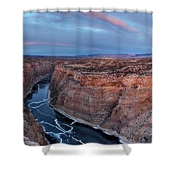 Bighorn River Winter Sunset Shower Curtain by Leland D Howard
