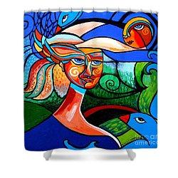 Bird Lady Shower Curtain by Genevieve Esson