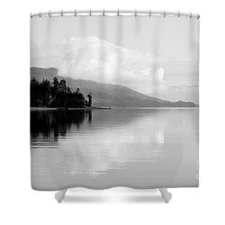 Black And White Island Near Hoonah Shower Curtain by Darcy Michaelchuk