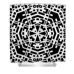 Black And White Kaleidoscope Shower Curtain by David G Paul