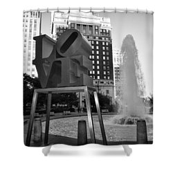 Black And White Love Shower Curtain by Bill Cannon