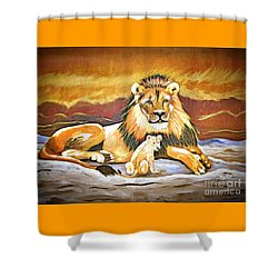 Black Maned Lion And Cub Shower Curtain by Phyllis Kaltenbach