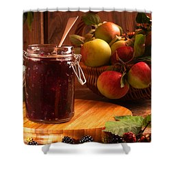 Blackberry And Apple Jam Shower Curtain by Amanda And Christopher Elwell