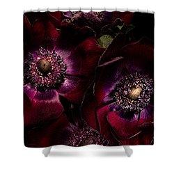 Blood Red Anemones Shower Curtain by Ann Garrett