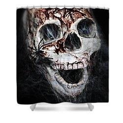 Bloody Skull Shower Curtain by Joana Kruse