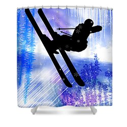 Blue And White Splashes With Ski Jump Shower Curtain by Elaine Plesser