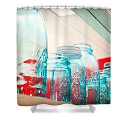 Blue Ball Canning Jars Shower Curtain by Paulette B Wright