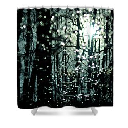 Blue Burns The Twilight Shower Curtain by Rebecca Sherman
