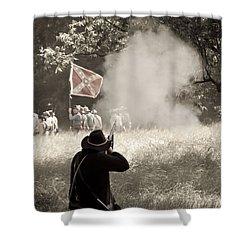 Blue Coat Gray Smoke Shower Curtain by Kim Henderson