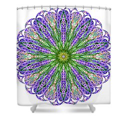 Blue Lavender Floral Kaleidoscope Shower Curtain by Carol F Austin