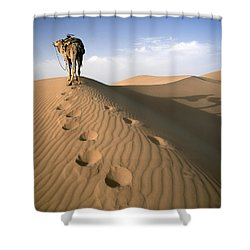 Blue Man Tribe Of Saharan Traders With Shower Curtain by Axiom Photographic