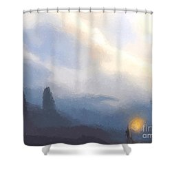 Blue Mountains  Shower Curtain by Pixel  Chimp