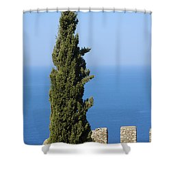 Blue Ocean And Sky Green Tree - Serene And Calming  Shower Curtain by Matthias Hauser