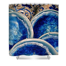 Blue On Blue Shower Curtain by Judi Bagwell