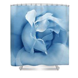 Blue Pastel Rose Flower Shower Curtain by Jennie Marie Schell
