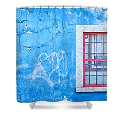 Blue Wall And Window With Red Frame Shower Curtain by Silvia Ganora
