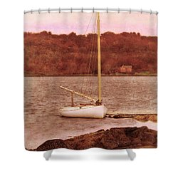 Boat Docked On The River Shower Curtain by Jill Battaglia