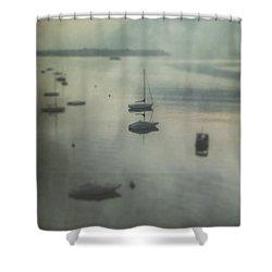 Boats In Mist Shower Curtain by Joana Kruse