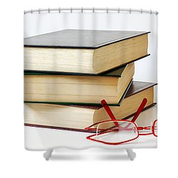 Books And Glasses Shower Curtain by Carlos Caetano