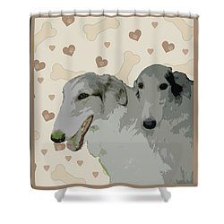Borzoi Shower Curtain by One Rude Dawg Orcutt