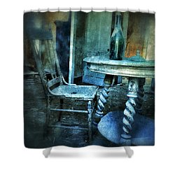 Bottle On Table In Abandoned House Shower Curtain by Jill Battaglia