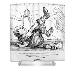 Boy Putting On Boots Shower Curtain by Granger