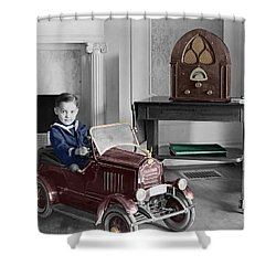 Boy With Toy Car Shower Curtain by Andrew Fare