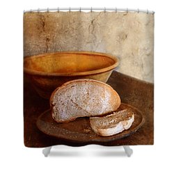 Bread On Rustic Plate And Table Shower Curtain by Jill Battaglia
