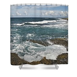 Breaking Waves 7919 Shower Curtain by Michael Peychich