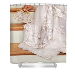 Bride Sitting On Stairs With Lace Fan Shower Curtain by Jill Battaglia
