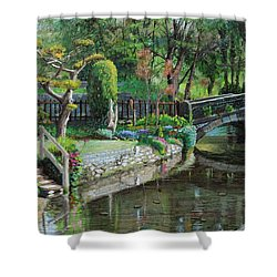 Bridge And Garden - Bakewell - Derbyshire Shower Curtain by Trevor Neal