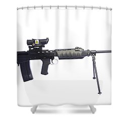 British Prototype 4.56mm Light Support Shower Curtain by Andrew Chittock