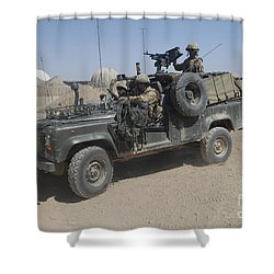 British Soldiers In Their Land Rover Shower Curtain by Andrew Chittock