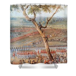British Troops Surrender At Yorktown Shower Curtain by Photo Researchers