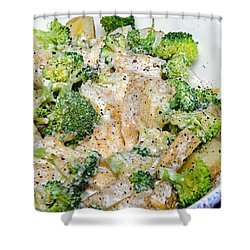 Broccoli Cheese Potatoes Shower Curtain by Andee Design