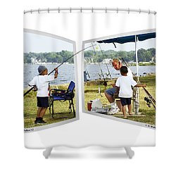 Brothers Fishing - Oof Shower Curtain by Brian Wallace