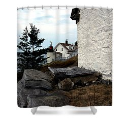 Browns Head Lighthouse Shower Curtain by Skip Willits