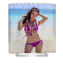 Brunette Model On Beach Shower Curtain by Tomas del Amo