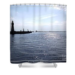 Buffalo Main Lighthouse And Buffalo Harbor Shower Curtain by Rose Santuci-Sofranko