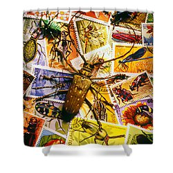Bugs On Postage Stamps Shower Curtain by Garry Gay