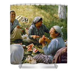 Bulgaria: Peasants Shower Curtain by Granger