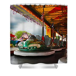 Bumper Cars Shower Curtain by Terri Waters