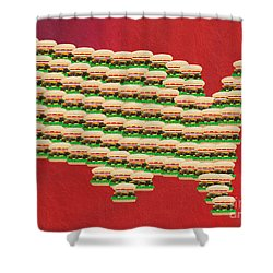 Burger Town Usa Map Red Shower Curtain by Andee Design