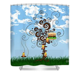 Burger Tree House And The Cupcake Kids  Shower Curtain by Andee Design