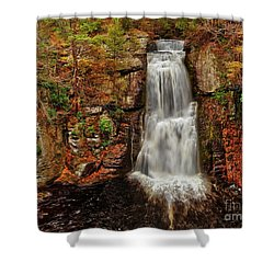 Bushkill Main Falls Shower Curtain by Nick Zelinsky