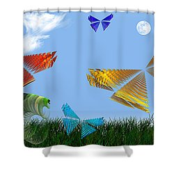 Butterflies Are Free To Fly Shower Curtain by Andee Design