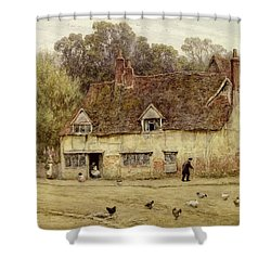By The Old Cottage Shower Curtain by Helen Allingham